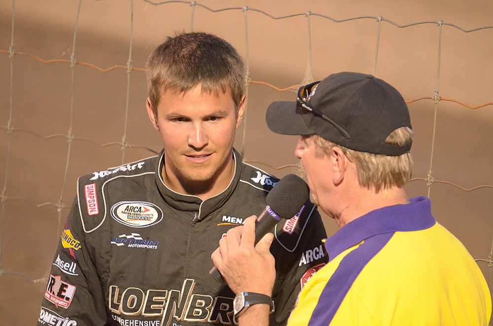 Steve Arpin of Nascar Camping World Truck Series, Nascar Nationwide Series, and Global Rallycross (WRC) on the 2012 Dakota Classic Modified tour talking to the crowd.