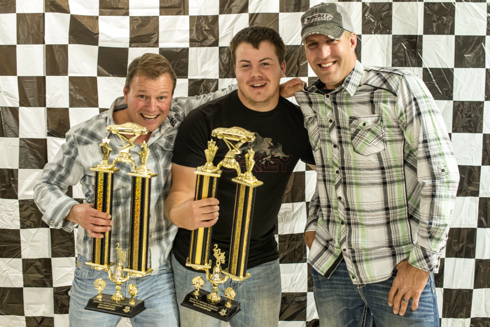 Brad King (left), Jordan Durward (Center) and Steven Pfeifer (Right) celebrate their respective track championships during the 2014 awards banquet.
