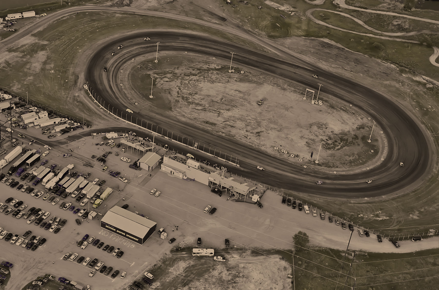 A bird's eye view of the Estevan Motor Speedway during hot lap sessions of the 2012 Dakota Classic Modified Tour
